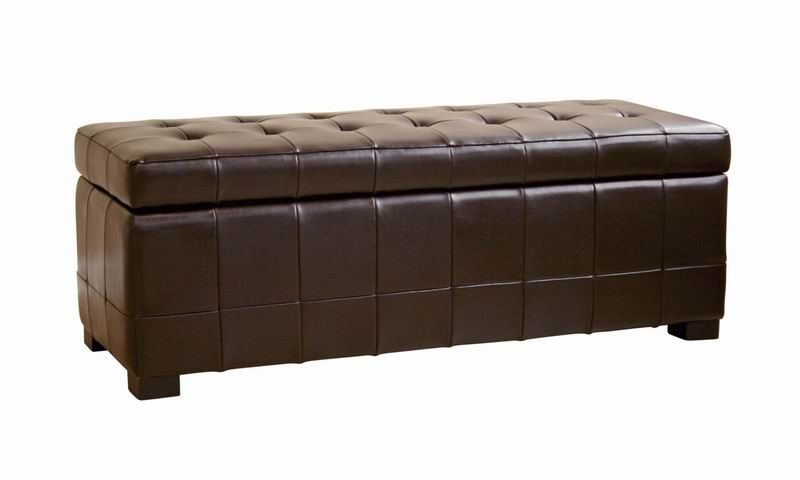 Walter Brown Leather Tufted Large Storage Bench Ottoman | Affordable Modern  Design | Baxton Studio