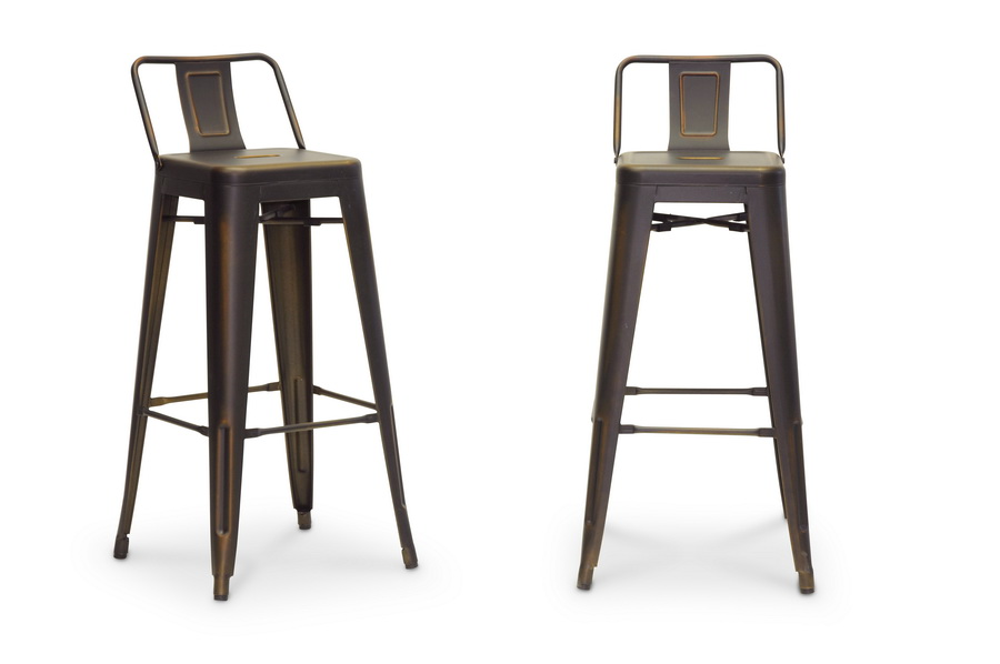 Baxton Studio French Industrial Modern Bar Stool In Antique Copper