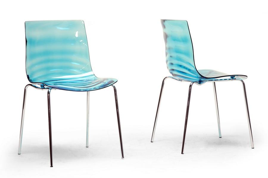 D Marisse Blue Plastic Modern Dining Chair Set Of 2  Affordable  Design Baxton Studio