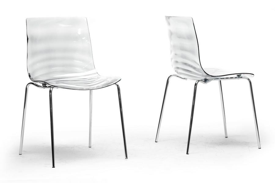 Superb Marisse Clear Plastic Modern Dining Chair Set Of 2 Creativecarmelina Interior Chair Design Creativecarmelinacom