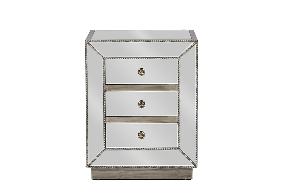 Baxton Studio Currin Contemporary Mirrored 3 Drawer Nightstand e