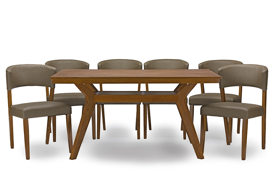 Baxton Studio Montreal Mid Century Dark Walnut Wood 7PC Dining SetOne (1)  Dining Table And Six (6) Dining Chairs