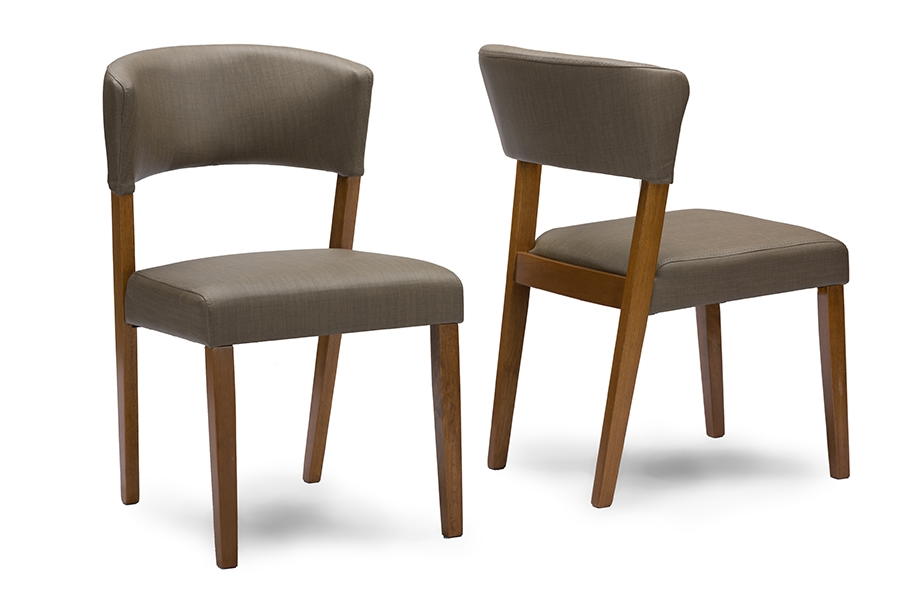 Baxton Studio Montreal Mid Century Dark Walnut Wood Grey Faux Leather  Dining ChairsTwo (2) Dining Chairs