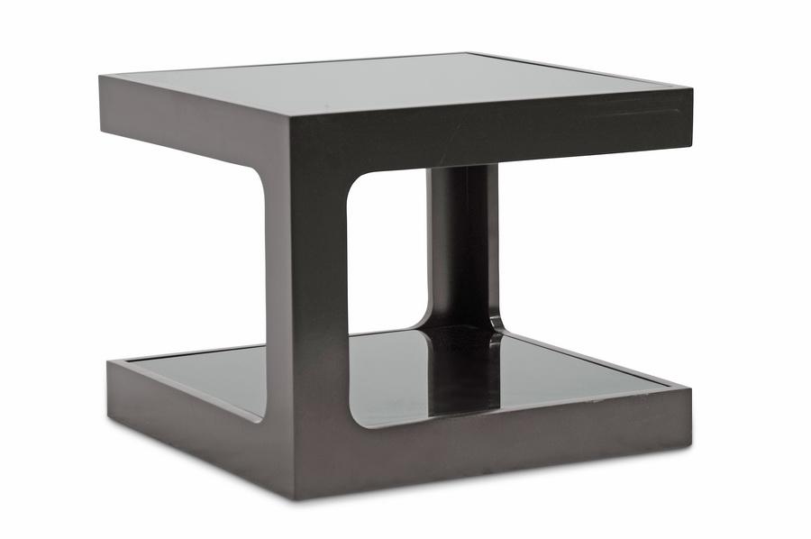 Baxton Studio Clara Black Modern End Table With 2 Glass Shelves Clara Black  Modern End Table