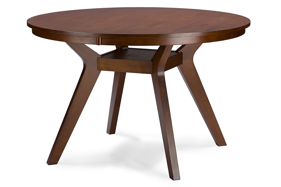 Baxton Studio Montreal Mid Century Dark Walnut Round Wood Dining TableOne  (1) Dining Table