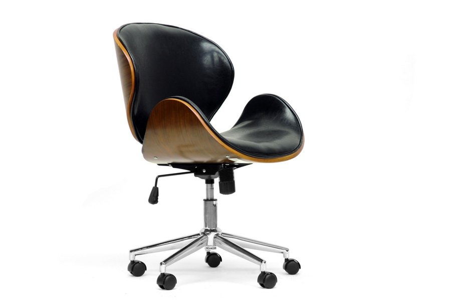 modern office chair leather. Bruce Walnut And Black Modern Office Chair | Affordable Design Baxton Studio Leather N