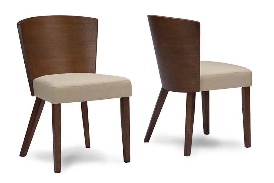 Baxton Studio Sparrow Brown/Light Brown Wood Modern Dining ChairTwo (2) Dining  Chairs