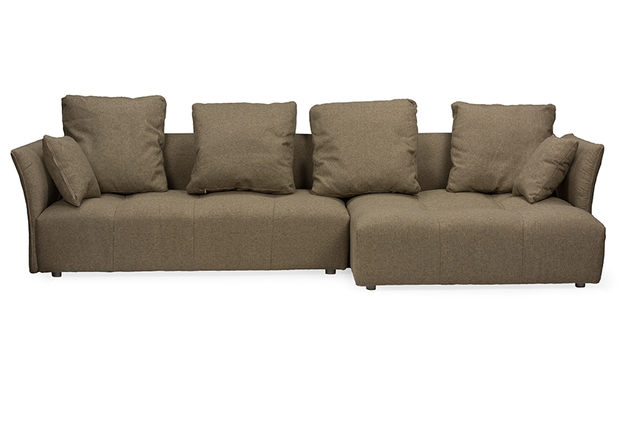 Baxton Studio Abbott Contemporary Brown Fabric Right Facing Sectional  SofaOne (1) Sectional Sofa Living
