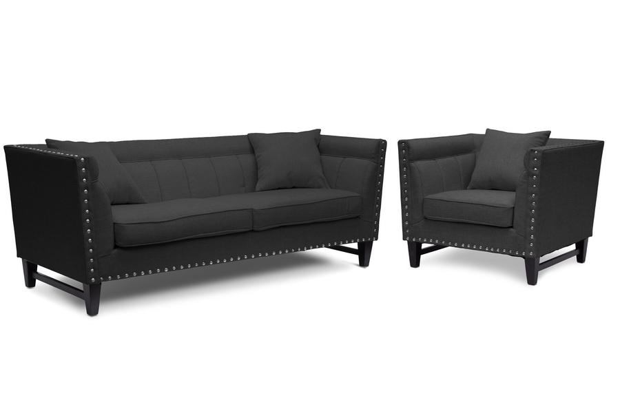 Baxton Studio Stapleton Gray Linen Modern Sofa And Chair Set