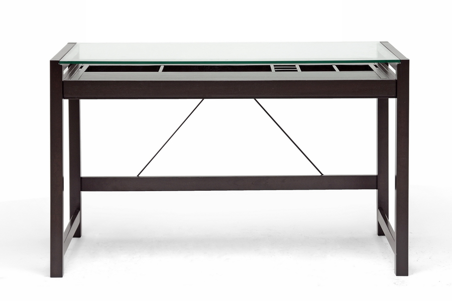 Baxton Studio Idabel Dark Brown Wood Modern Desk With Glass Top Affordable Design