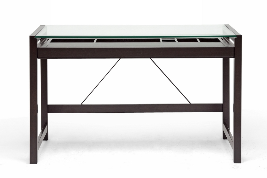 Baxton Studio Idabel Dark Brown Wood Modern Desk With Glass Top |  Affordable Modern Design | Baxton Studio