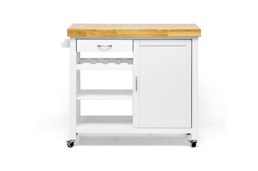 Baxton Studio Denver White Modern Kitchen Cart | Affordable Modern Design |  Baxton Studio