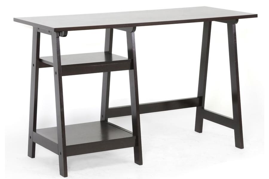 Baxton Studio Mott Dark Brown Wood Modern Desk With Sawhorse Legs Small Affordable Design