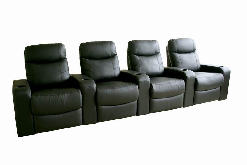 Home Theater Seating Cannes In Black   Row Of 4