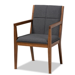 Baxton Studio Theresa Mid-Century Modern Dark Grey Fabric Upholstered and Walnut Brown Finished Wood Living Room Accent Chair Baxton Studio > Living Room Furniture > Chairs > Accent Chairs
