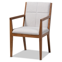 Baxton Studio Theresa Mid-Century Modern Greyish Beige Fabric Upholstered and Walnut Brown Finished Wood Living Room Accent Chair Baxton Studio > Living Room Furniture > Chairs > Accent Chairs