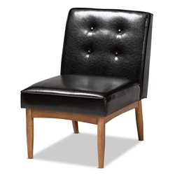 Baxton Studio Arvid Mid-Century Modern Dark Brown Faux Leather Upholstered Wood Dining Chair Baxton Studio > Living Room Furniture > Chairs > Accent Chairs
