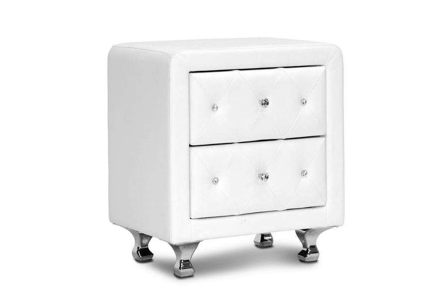 Well-liked Stella Crystal Tufted White Upholstered Modern Nightstand  IP31