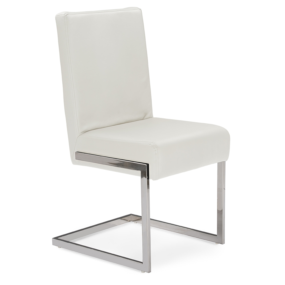 Baxton Studio Toulan Modern And Contemporary White Faux Leather Upholstered Stainless Steel Dining Chair Set Of 2 Affordable Design