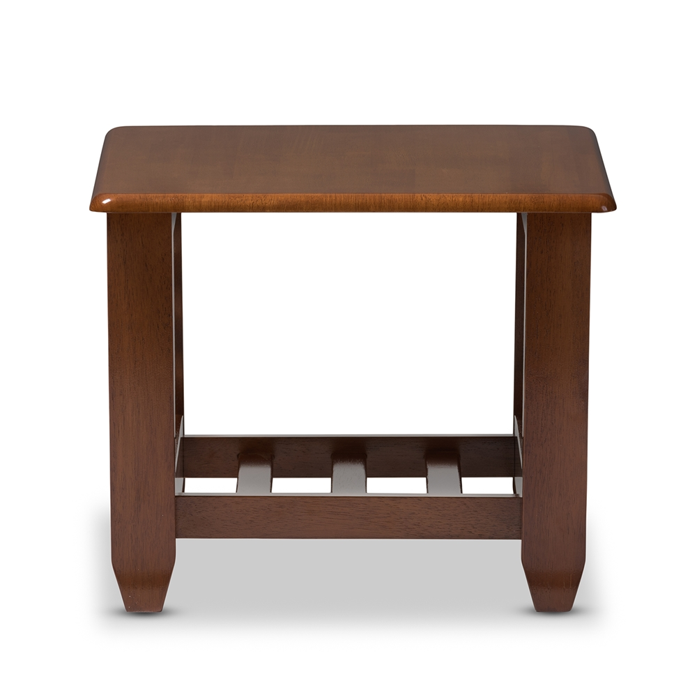Baxton Studio Larissa Modern Clic Mission Style Cherry Finished Brown Wood Living Room Occasional End Table