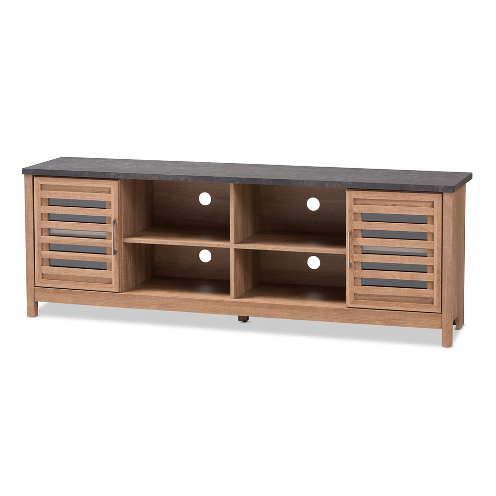 Baxton Studio Pacific Modern And Contemporary Light Brown Grey Two Tone Finished 71 Inch Tv Stand