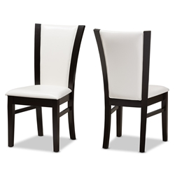 Baxton Studio Adley Modern And Contemporary Dark Brown Finished White Faux Leather Dining Chair Set Of