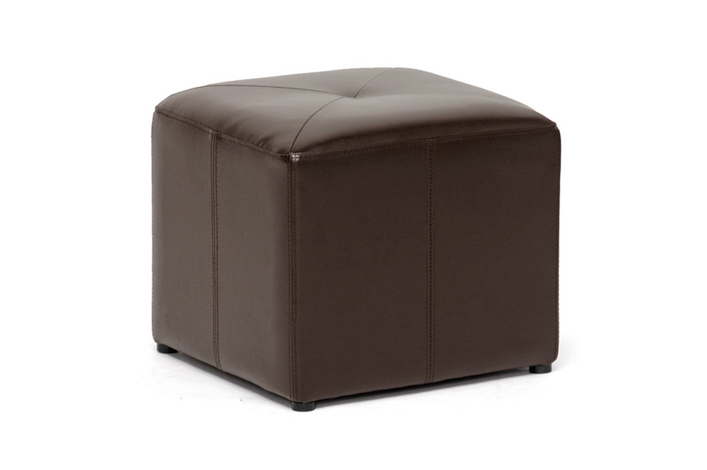 Aric Brown Leather Small Inexpensive Cube Ottoman
