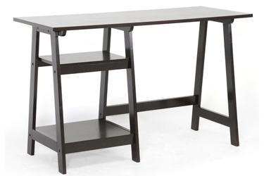 Baxton Studio Mott Dark Brown Wood Modern Desk With Sawhorse Legs Small