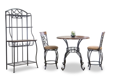 Baxton Studio Ibiza Wood And Metal 4 Piece Contemporary Counter Set With Bakers Rack Affordable